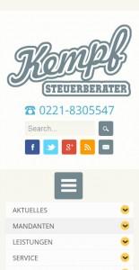 Mobile Ansicht website Steuerberater Kempf, Köln - http://www.steuerberater-kempf.de