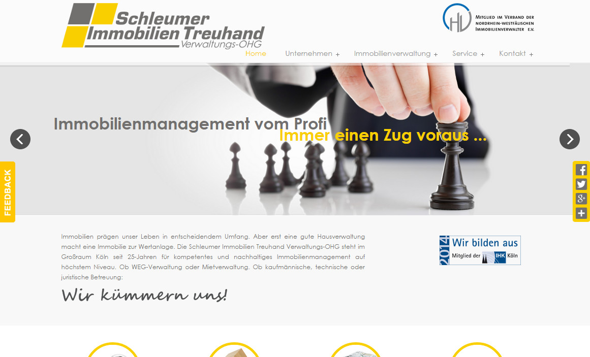 Desktop Version Website Relaunch Hausverwaltung Koeln