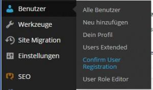 WordPress Dashboard - Benutzer - Confirm User Registration