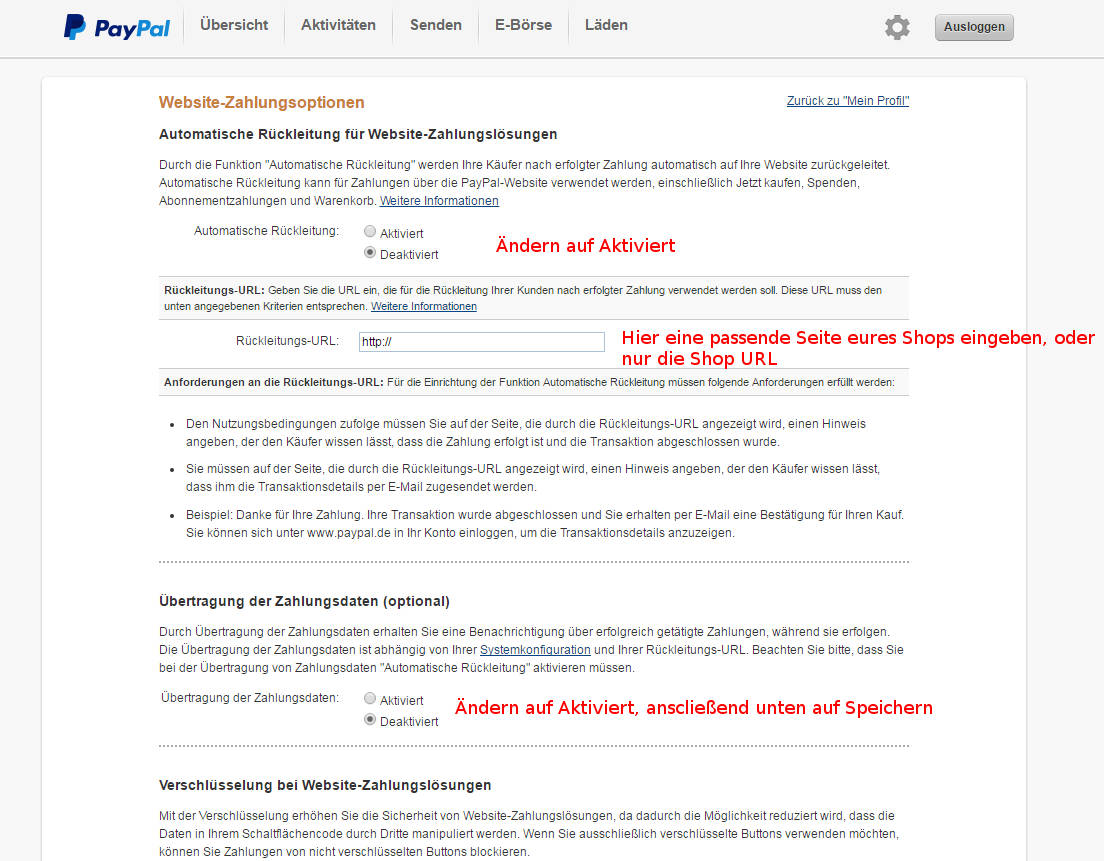 paypal konto webseiten-zahlungsoptionen