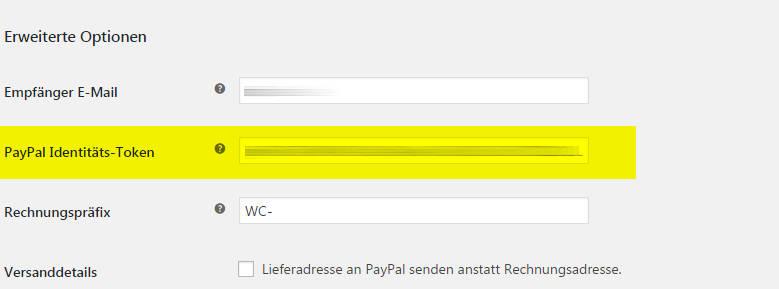woocommerce einstellungen paypal identitaets-token