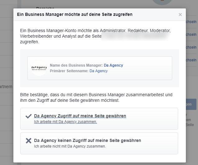 """Facebook:Im Anschluss im Overlay auf """"Da Agency Zugriff auf meine Seite gewähren"""""""