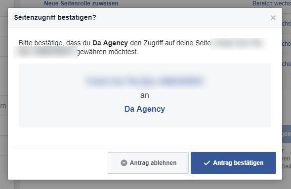 """Facebook Zugriff durch Business Manager gewähren: Nochmals auf """"Antrag bestätigen"""""""