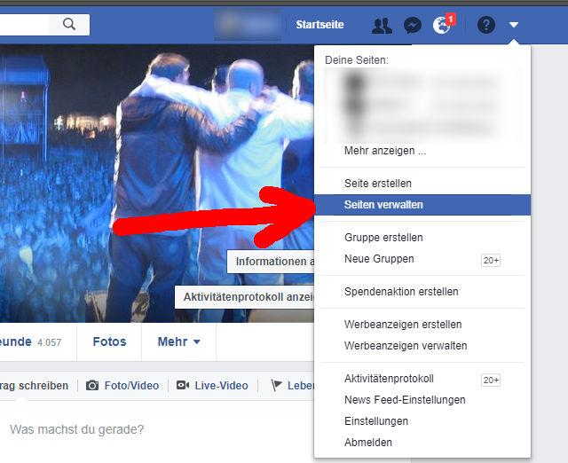 Facebook Startseite. Um Business Manager Zugriff zuzulassen, erstmal die verwaltete Seite auswählen
