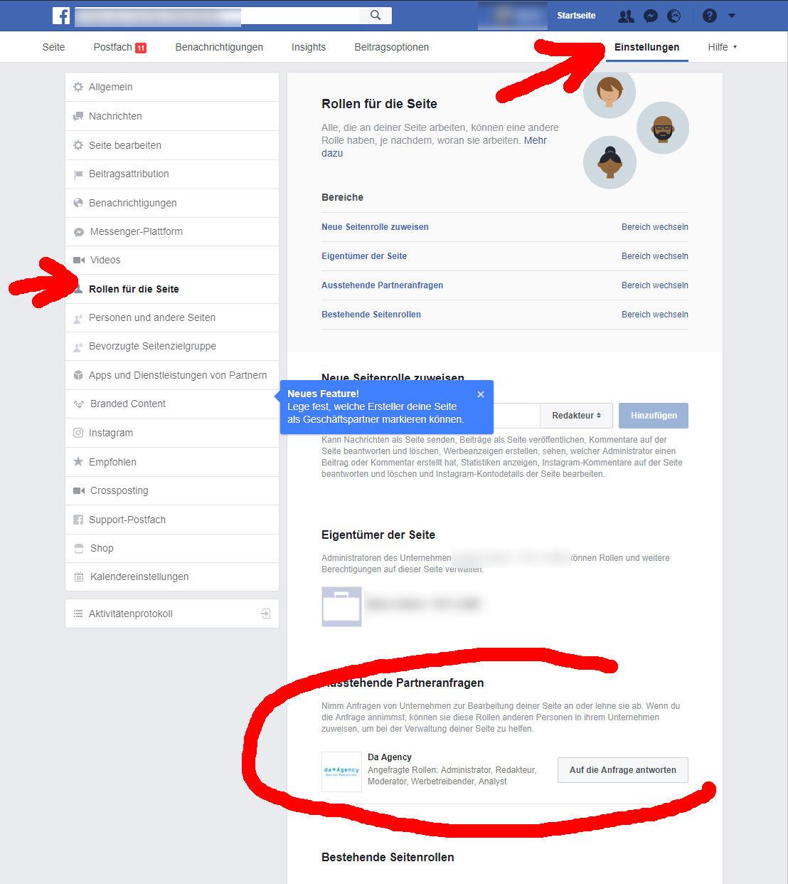Facebook verwaltete Seite: Unter Einstellungen -> Rollen... -> facebook business manager anfrage bestätigen und Zugriff gewähren