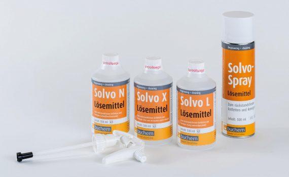 Solvo N · Solvo L · Solvo X Rückstandsfreie Reiniger und Entfetter für die Produktion und Instandhaltung. Verschiedene Lösemittelkompositionen für eine optimale Anpassung an die jeweiligen Anwendungsbereiche.