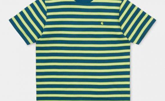 Carhartt Oakland T-Shirt Oakland Stripe Moody Blue/Lime